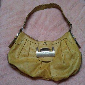 Guess Large Tan Leather Shoulder Bag